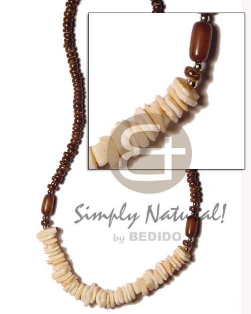 Brown 4-5mm yellowish white Shell Necklace