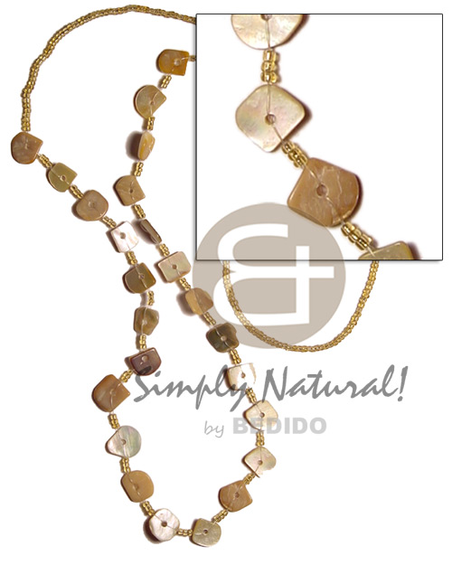 Square cut gold lip Shell Necklace