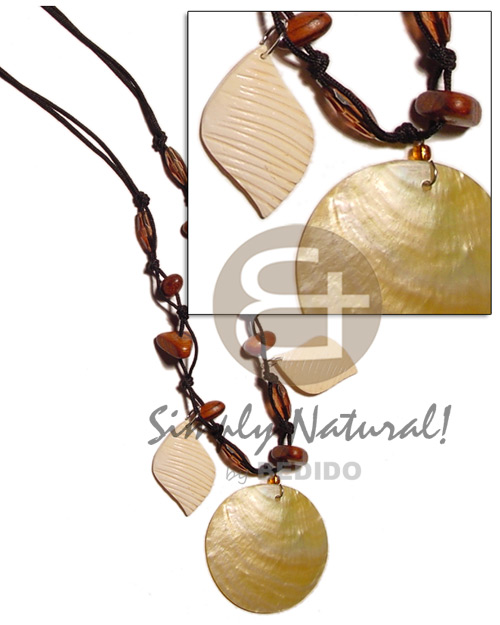 40mm round mop wood Shell Necklace