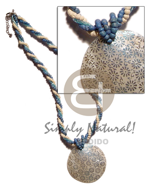 Twisted 2-3mm coco pokalet blue bleach cut Shell Necklace