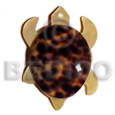 Mop turtle cowrie back Shell Pendant