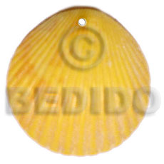 hand made Piktin clam dyed in yellow Shell Pendant