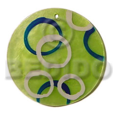 Round green 50mm capiz shell Shell Pendant