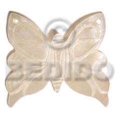 hand made Butterfly hammershell natural 50mm Shell Pendant