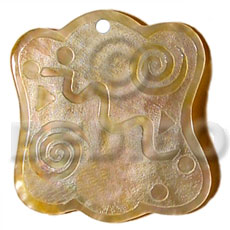 Wavy 45mm square mop Shell Pendant