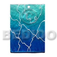 35mmx30mm rectangular graduated blue painted Shell Pendant