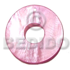 40mm donut pink hammershell Shell Pendant