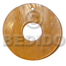 40mm donut golden yellow Shell Pendant