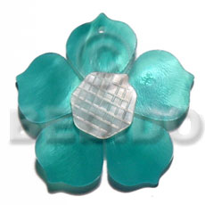 Aqua blue 25mm hammershell flower Shell Pendant