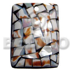 45mmx35mm rectangular laminated cowrie tiger Shell Pendant