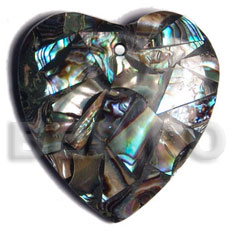 hand made 45mm heart laminated paua chips Shell Pendant