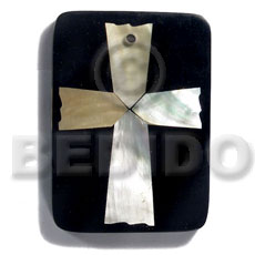 60mmx40mm rectangular/ 7mm thickness /MOP cross in black resin backing laminated in clear resin - Shell Pendant