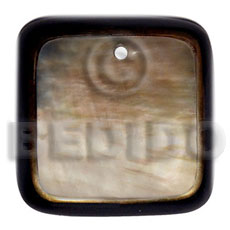 50mm square brownlip laminated in Shell Pendant