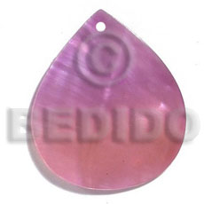 kabibe rounded teardrop 35mmx30mm-two tone - lavender-soft pink combination - Shell Pendant