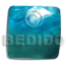 35mm square hammershell pendant / two tone-subdued green-subdued blue combination - Shell Pendant