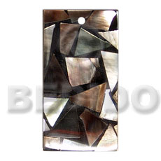 Flat30mmx15mm rectangle black Shell Pendant