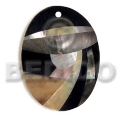 hand made Oval 55mmx42mm black resin Shell Pendant