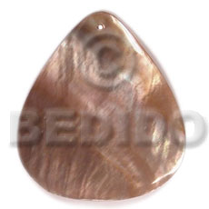 40mmx34mm brownlip rounded teardrop - Shell Pendant