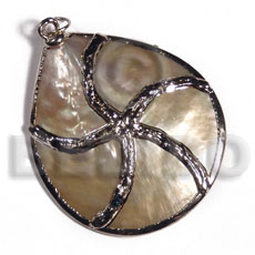 hand made Mop 40mm molten silver metal Shell Pendant