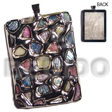 rectangular 50mmx38mm glistening abalone in pastels / molten silver metal series /  attached 5mm bell ring / electroplated - Shell Pendant