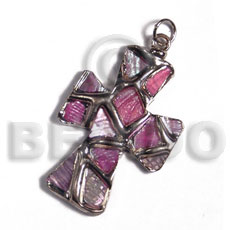 cross 40mm glistening pink abalone  / molten silver metal series /  attached 5mm bell ring / electroplated - Shell Pendant