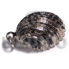 sihe shell - spiral (approx.  25mm - varying natural sizes ) molten silver metal series /  attached jump ring /electroplated / sl-159 - Shell Pendant