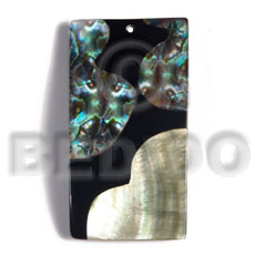 55mmx27mm laminated rectangular paua/blacklip shell  combination  5mm black resin backing - Shell Pendant