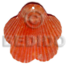 hand made Piktin scallop dyed in red Shell Pendants
