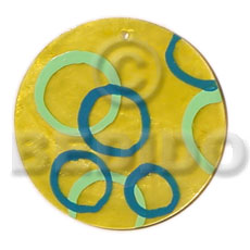 Round yellow 50mm capiz shell Shell Pendants