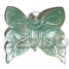 Aqua blue butterfly hammershell 50mm Shell Pendants