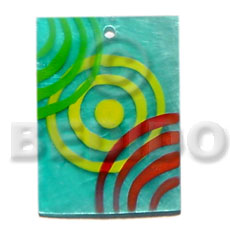 35mmx30mm rectangular aqua blue painted Shell Pendants
