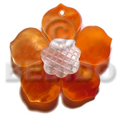 hand made Orange 40mm hammershell flower Shell Pendants