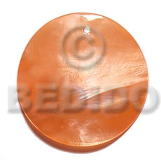 40mm round orange hammershell Shell Pendants