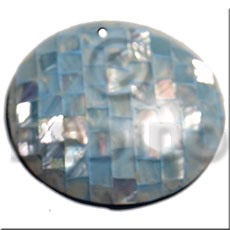 50mm round aqua blue hammershell Shell Pendants