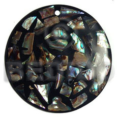 50mm round paua blocking Shell Pendants