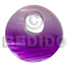 50mm round kabibe shell pendant  big 19mm top center hole  / graduated purple - Shell Pendants