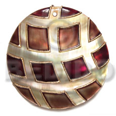 handpainted and colored round 55mm kabibe shell pendant embellished  elevated /embossed metallic paint accent lines / brown and gold tones - Shell Pendants