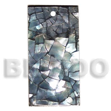 flat 40mmx20mm rectangle   laminated blacklip cracking - Shell Pendants
