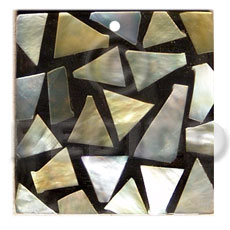 flat square  black resin   30mmx30mm laminated MOP chips - Shell Pendants