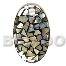 Dome oval 70mmx42mm laminated blacklip Shell Pendants
