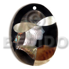 Oval 55mmx42mm black resin Shell Pendants