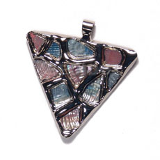 triangle 50mm glistening abalone in pastel / molten silver metal series /  attached 5mm bell ring / electroplated - Shell Pendants
