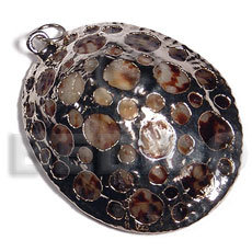 oval limpit shell  (approx.  45mmx35mm - varying natural sizes ) molten silver metal series /  attached jump rings / electroplated / 19-004-a - Shell Pendants