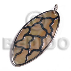 oval MOP / 60x30mm / molten silver metal series /  attached jump ring / electroplated / 19-107 - Shell Pendants