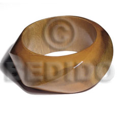 Twisted natural woodchunky bangle Stained Bangles