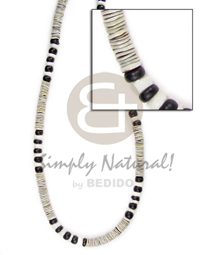 Green shell white shell and black Surfer Necklace