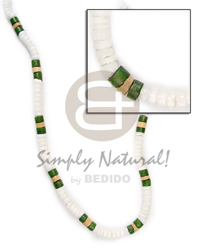 White shell green and Surfer Necklace