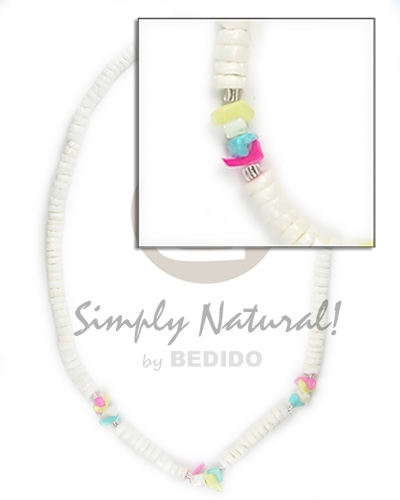 4-5 wht shell crazy cut Surfer Necklace