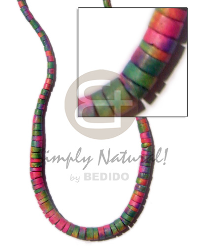 Graduated coco rainbow colored Surfer Necklace