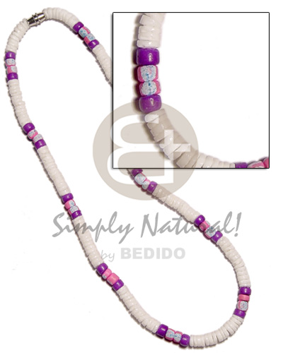 4-5mm white clam lilac Surfer Necklace